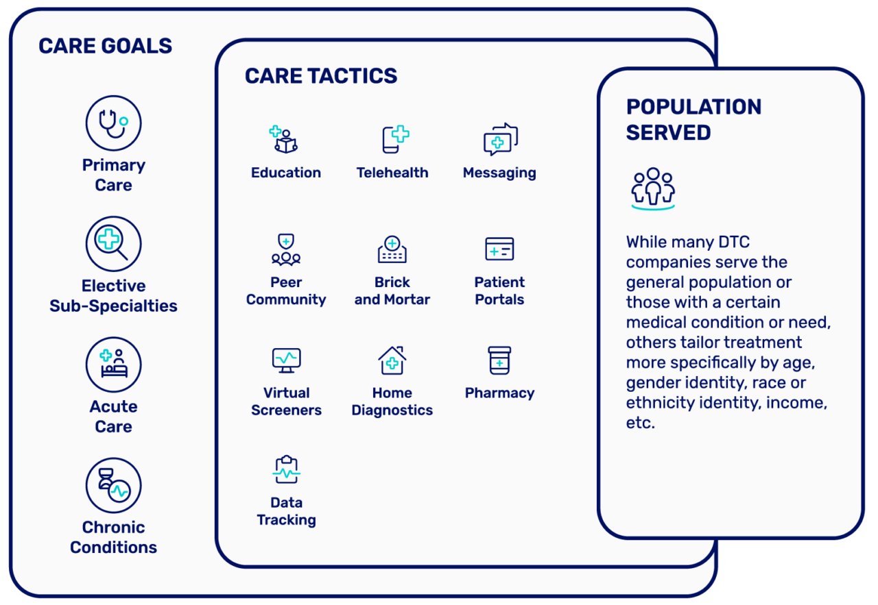 Overview of DTC company categorization based on care goals, care tactics, and populations served